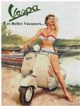 "10892 - Vespa girl 6"" x 8"" Vintage Metal Steel Advertising Sign Plaque"